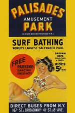 Palisades Park Girl Surf Bathing Pool New Jersey Vintage Poster Repro FREE S/H