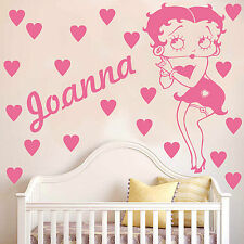 BETTY BOOP Wall sticker decal | Personalised with hearts | Kids bedroom | K10