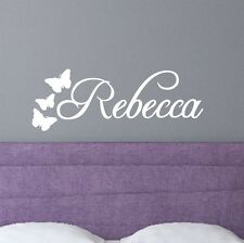 Personalised bespoke swirly name with butterflies | WALL STICKER DECAL | NA39
