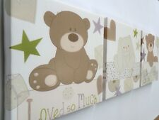 3 X DEEP EDGE CANVAS PICTURES with LOVED SO MUCH / LITTLE BEAR BRAND NEW