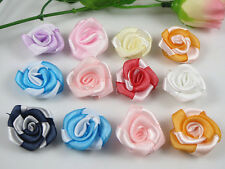 60x Ribbon Rose cabbage flowers Wedding Appliques-(pick color)