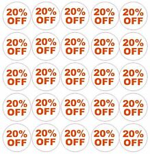 20% Percent Off Label Sticker Retail Store FLEA MARKET Boutique MADE IN USA #D54