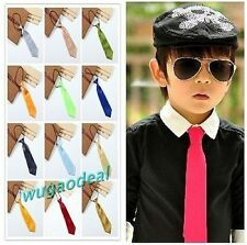 Cute Satin Elastic Neck Tie for Wedding Prom Boys School Kids Ties 26 Colors