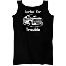 Lurkin for Trouble Mens black Tank Top party van creeper wifebeater lurking joke