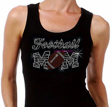Zebra Football Mom - B&W - Iron on Rhinestone Tank Top - Bling Sport Mom Shirt