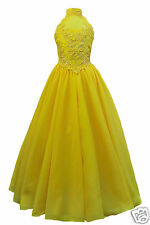 Girl Yellow Pageant Wedding Flower Girl Formal Party Dress  3 4 5 6 7 8 10 12 14