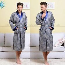 Mens Silk  Pajamas Pajama Pyjamas Sleepwear Robes Nightgown S,M,L,XL,2XL Blue