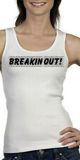 Breaking Out Ladies White Tank Top, S - 2XL prison break outlaw biker sexy punk
