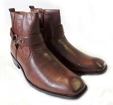 NEW MENS STYLISH ANKLE BOOTS LEATHER ZIPPERED  BUCKLE STRAPS DRESS SHOES / BROWN