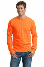 Gildan TEE NEON NEW ANSI Safety Long Sleeve T-Shirt 2400 S-5XL GREEN ORANGE