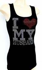 RHINESTONE I LOVE MY HUSBAND  TANK TOP  NEW  MADE IN USA S M L XL 1XL 2XL 3XL