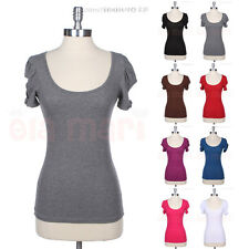Cotton Shirring Shoulder Open Short Sleeve with Ribbon Band Scoop Neck Top Shirt