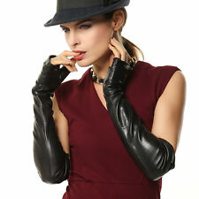 Lady's fingerless elbow long nappa leather driving Gloves Gold Plated Logo