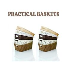 RATTAN PRACTICAL BASKETS HOME OFFICE PLASTIC STORAGE HANDY BASKET IN 4 COLOURS