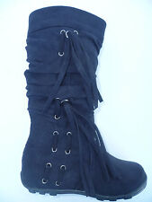 GIRLS NEW BLACK SUEDE BOOTS SHOES HOT SIZE 9-2