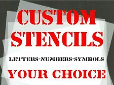 CUSTOM STENCILS 30mm, 40mm & 50mm Letters, Numbers & Symbols YOUR CHOICE