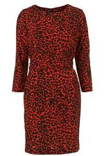 TOPSHOP RED LEOPARD SHIFT DRESS NEW SIZE 6 £46 HOLLY WILLOUGHBY