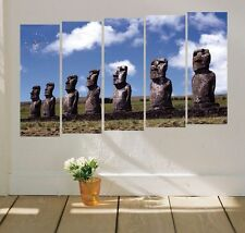 Easter Island statue quality modern Canvas Art Prints Set framed wall clock
