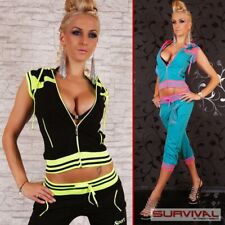 New Womens Tracksuit Capri Pants Sleeveless Jacket Hoodie Hot Sexy Black Blue