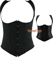 New Ladies Underbust Corset Vest Top Satin or Gangster Pinstripe Petite to Plus