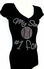 RHINESTONE BASEBALL MOM SON'S #1 FAN JUNIOR SHEER V NECK  L XL 2XL 3XL SHIRT NEW