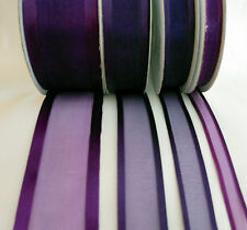 25 Yd Roll of  Eggplant Satin Edge Organza Ribbon 10mm, 15mm, 25mm and 38mm