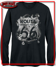 ROUTE 66 SIGN LONG SLEEVE SHIRT M-3XL BULLET HOLES AMERICA HIGHWAY CLASSIC CARS