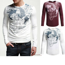 Fitted Mens Long Sleeve T-Shirt Graphic Tee, Cotton & Lycra Stretch Tattoo Print