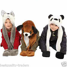 Childrens Kids Boys And Girls Animal Hat with Tail and Pockets winter hat