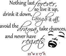 MARILYN MONROE QUOTE NOTHING LAST FOREVER Wall Decal Sticker Words