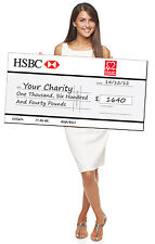 GIANT CHARITY CHEQUE - LARGE PRINTED NOVELTY CUSTOM PRINTED BOARD. BIG DONATION