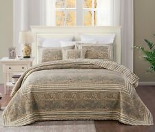 DaDa Bedding Bohemian Damask Olive Tan Floral Paisley Quilted Bedspread Set
