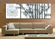 Chinese water painting of Bamboos Modern Wall Clock On Canvas Prints Set Framed