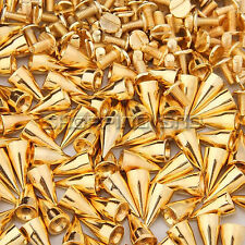 "LOT 13mm 1/2"" Gold Cone Screw Metal Studs Leathercraft Rivet Bullet Spikes Punk"
