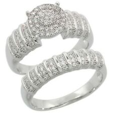 925, Sterling Silver Simulated Diamond Micro Pave Engagement and Bridal Ring Set