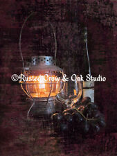 Distressed Wine Lantern Grapes Matted Picture Home Wall Art Interior Decor A234