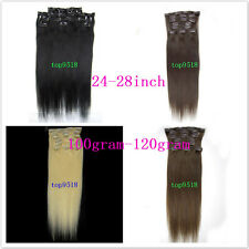 fashion! 24inch,26inch,28inch clip in real human hair extension 7pcs 100gr-120gr