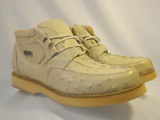 CROCIDILE ALIGATOR OSTRICH PRINT CASUAL SHOE 100%leather COLOR IVORY **ALL SIZES