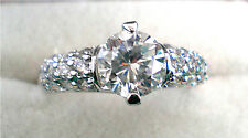 Simulated Solid Diamond & Accent Cluster Wedding Engagement Ring Size 8