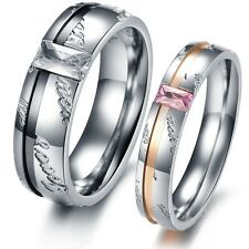 OPK Love Forever W/Rhinestone Stainless Steel Wedding Band Couple Rings(1 Pair)