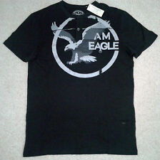 American Eagle AE Signature Graphic Henley T-Shirts Mens SZ S M Black 3075 073