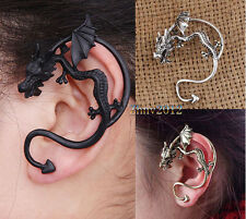 Vintage Style Punk Flying Dragon Bite Ear Cuff Stud Earrings.Pick Color.#ZE045