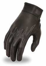 First Classic Ladies Flame Embroidered Motorcycle Glove w/ Gel Palm FI113-GEL