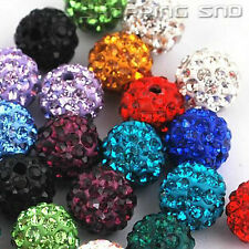 WHOLESALE 10MM Clay Disco Balls Beads Crystal Pave Premium Quality ! 50/100/200