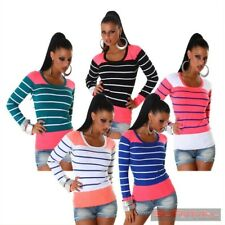 Womens Jumper Striped Sweater Round Neck Knitted Top Blue Green Pink Size 8-10