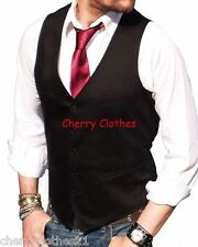 MENS SLIM FIT BLACK WAISTCOAT - BLACK VEST - ALL SIZES XS S M L XL XXL