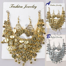 NEW Tribal Necklace+Earring Jewelry Choker Dance Costume golden/silver coins