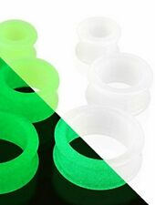 WHITE ~ GLOW IN THE DARK ~ SILICONE HOLLOW GAUGES PLUGS TUNNELS ~CHOOSE GAUGE