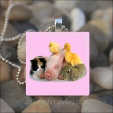 """""""BABY ANIMAL FRIENDS"""" KITTEN DUCK PIG CHICK BUNNY EASTER GLASS PENDANT NECKLACE"""