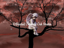 Angel Cherub Child Tree Starry Sky Bedroom Art Surreal Matted Picture USA A329